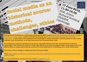 Read more about the article Social media as an historical source: methods, challenges, ethics, 17 June 2019